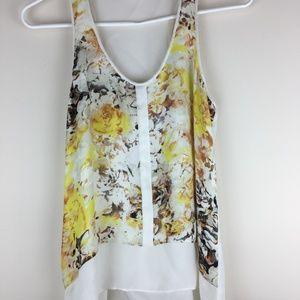 Parker Sheer Yellow Floral Tank Top 100% Silk